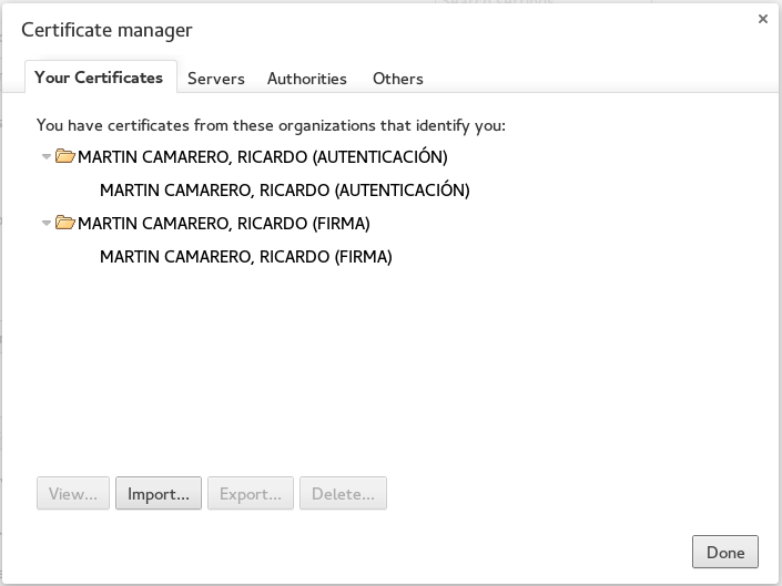 Certificates from teh DNIe displayed in chromium
