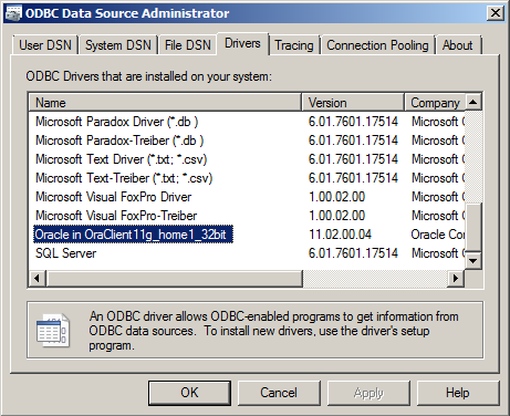 windows oracle odbc driver configuration